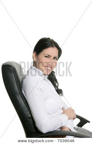 Brunette Businesswoman Sit On Office Chair