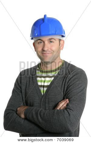 Blue Hardhat Foreman Portrait In White
