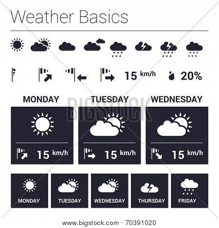 Weather forecast - graphic design elements collection
