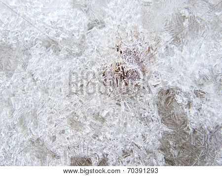 Ice texture over the ground