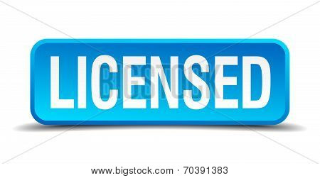 Licensed Blue 3D Realistic Square Isolated Button