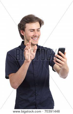 Happy Man Waving To A Smart Phone Camera