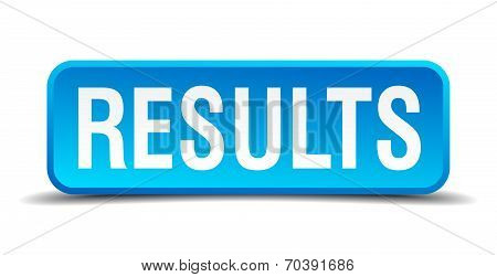 Results Blue 3D Realistic Square Isolated Button