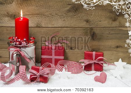 Red Christmas Decoration With Presents On Wooden Background.