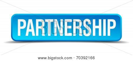 Partnership Blue 3D Realistic Square Isolated Button