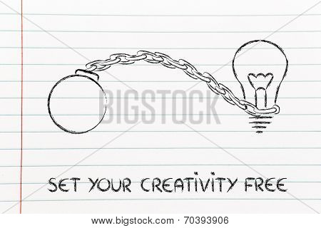 Set Your Creativity Free, Idea With Ball And Chain