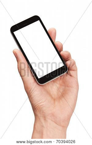 Mobile phone in a man's hand isolated on white background