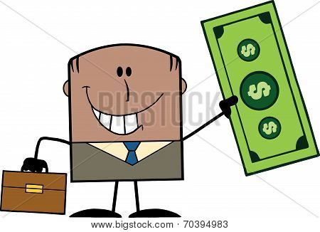 Lucky African American Businessman With Briefcase Holding A Dollar Bill