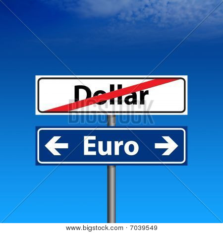 Road Sign The End Of Dollar, Euro Forever