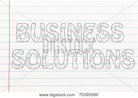 Business Solution Writing With Glowing Gearwheels Pattern