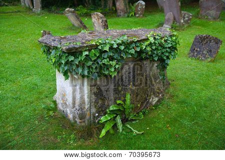 WILTSHIRE, CHIPPENHAM, UK - AUGUST 9, 2014: Castle Combe, grave yard
