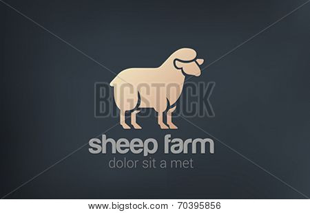 Sheep Logo vector design template silhouette icon. Farm Logotype concept idea.