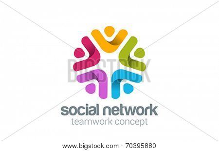 Social Team Network Logo design vector. Teamwork logotype. Partnership, Community, Leadership concept. People holding hands icon.