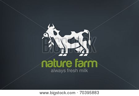 Cow Logo silhouette vector design template. Fresh Natural Milk Farm Logotype concept icon.