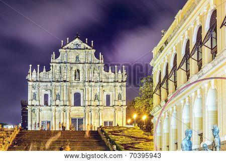 Macau, China at the Ruins of St. Paul Cathedral.