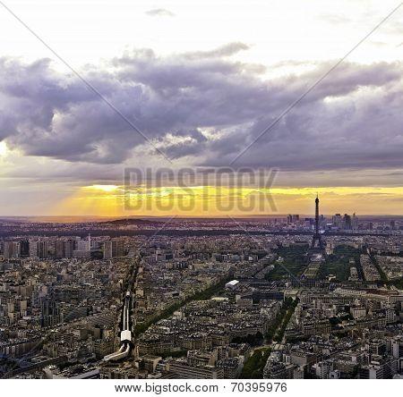 Eiffel Tower ( Tour Eiffel ) In Paris At Atmospheric Dusk