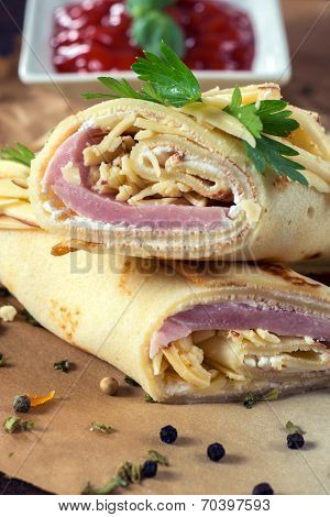 Flapjacks With Cheese And Ham