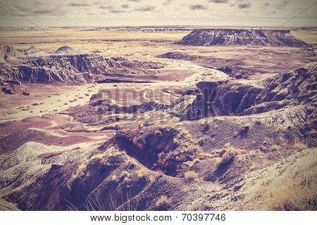 Vintage Picture Of Painted Desert, Petrified Forest National Park, Arizona, Usa
