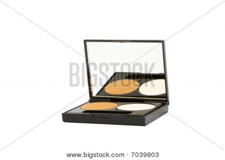 Make-up Box With Powder Isolated In White