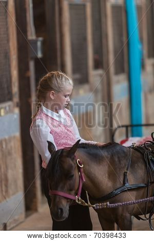 Girl With Miniature Horse At State Fair