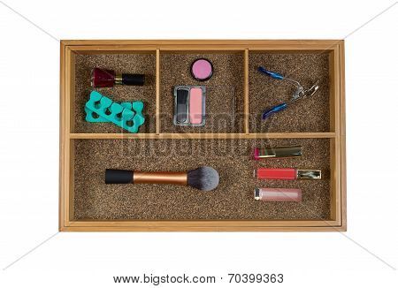 Women Cosmetic Accessories In Drawer