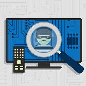 foto of malware  - Malware detected on smart tv represented by a magnifying glass focusing on the figure of a thief - JPG