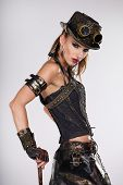 picture of steampunk  - Steampunk woman golf player - JPG
