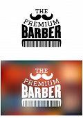 stock photo of moustache  - Retro barber shop icon - JPG