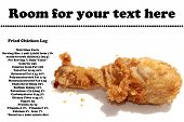 image of southern fried chicken  - A genuine piping hot deep fried chicken leg isolated on white with nutritional information and room for your text - JPG