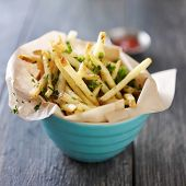 image of truffle  - truffle fries standing up in a bowl with wax paper lining - JPG