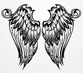 pic of spread wings  - Vector Tattoo wings for your design - JPG