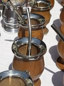 pic of calabash  - Group of calabash matte cups with straws in Buenos Aires - JPG