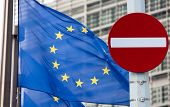 stock photo of no entry  - No entry sign in front of EU flag - JPG