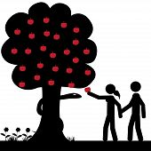 picture of garden eden  - Adam and Eve takes a apple from tree - JPG