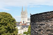 foto of anjou  - Castle wall and Saint Maurice Cathedral in Angers city France