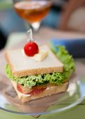 pic of butter-lettuce  - sandwich with salami cheese and lettuce and little tomato