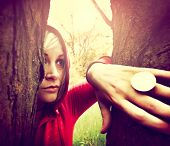 picture of little red riding hood  -  Little Red Riding Hood in the forest toned with a retro vintage instagram filter  - JPG