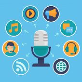 picture of microphone  - Vector podcast concept in flat style  - JPG