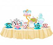 stock photo of mad hatter  - Wonderland Tea Party decorated table - JPG