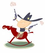 stock photo of baby cowboy  - Baby looks like a sheriff with guns is riding a hors - JPG