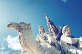 stock photo of kensington  - Closeup of stone statues at the Albert Memorial in Kensington Gardens - JPG