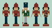 stock photo of nutcracker  - set of christmas musician soldier nutcrackers vector - JPG