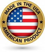 stock photo of usa flag  - Made in the USA american product gold label with flag vector illustration - JPG