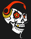 image of skull bones  - Skull with headphones - JPG
