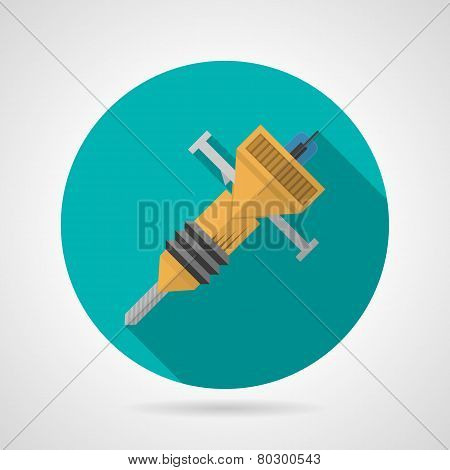 Flat color jackhammer vector icon