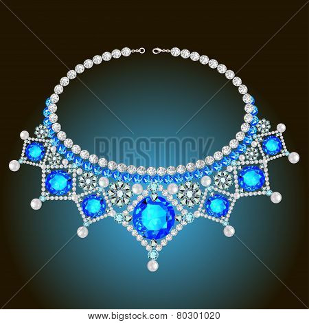Woman's Necklace With Pearls And Precious Stones