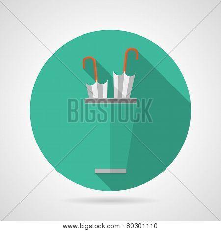 Flat color umbrella stand vector icon