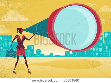 Businesswoman Looks Through Her Telescope.