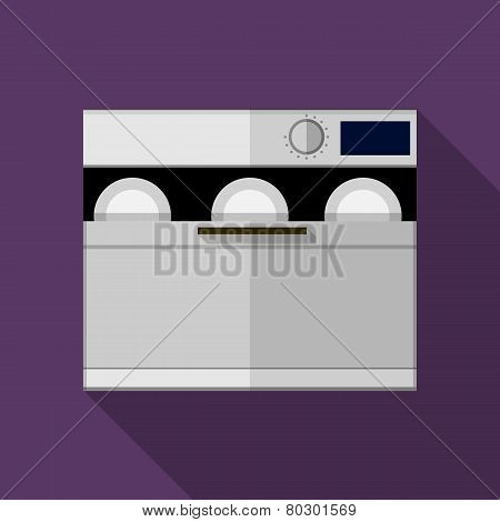 Flat color gray dishwasher machine vector icon