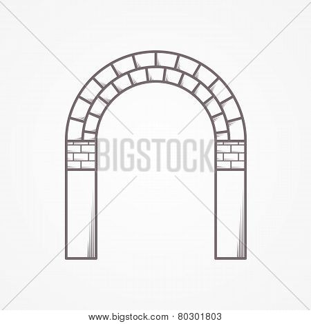 Flat line brick archway vector icon